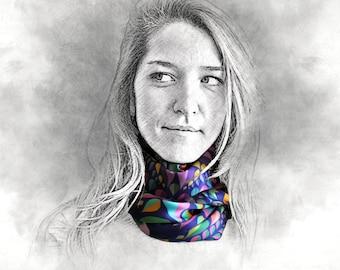 ESSENCE silk scarf, rainbow scarf, silk shawl, colorful scarf, gift for her, multicolor scarf, shawl, long scarf, printed silk scarf