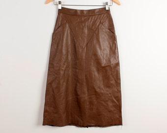 Real Leather Skirt Brown Knee Length Straight Skirt Genuine Leather Midi Skirt