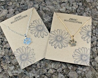 Paw Print Necklace, Pet Necklace, Pet Lovers Jewelry, Silver Necklace, Gold Necklace, Paw Print Jewelry, Animal Jewelry, Pet Lover Gift