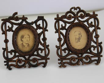 Black Forest Ware, 2 Small Antique Wooden Carved Cameo Photograph Frames, Antique Picture Frames, Swiss Carved Frames.