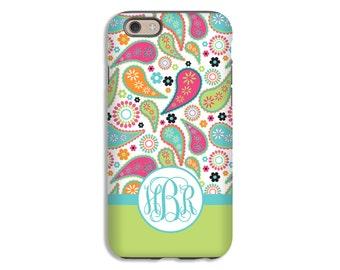 iPhone 7 case, Galaxy S8 case, paisley, monogram, personalized, Google Pixel case, LG G6 case, iPhone 7 Plus case, 3D phone case, tough case