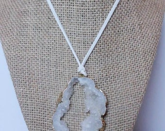 drusy stone wrap necklace | white on white