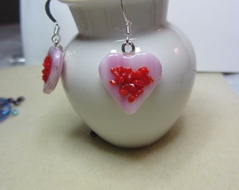 Pink heart dangle with red