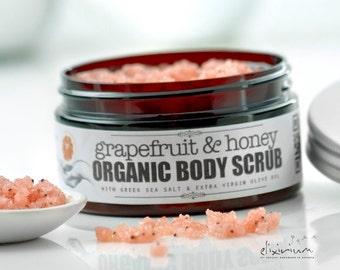 GRAPEFRUIT & HONEY Organic Body Scrub ~Salt Sugar Body Scrub~Greek Sea Salt body scrub~Organic Sea Salt exfoliator~Sugar scrub~peeling