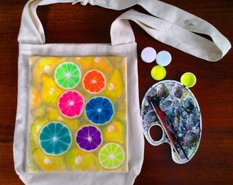 Acid bag hobo crossbody bag 2017 with drawing Lemons hand painted hobo bag yellow crossbody bag hobo bag canvas, FREE SHIPPING