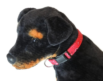 Large Red Paisley Dog Collar
