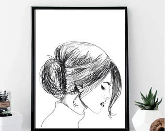 Fashion Girl Low Bun Print // Minimalist // Wall Art // Office DIY // Scandinavian // Modern Office // Fashion // Makeup