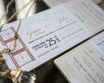 Vintage Movie Ticket Wedding Invitation Perforated RSVP Mixed Metal Tones (Deposit Listing to Begin Design Process!)