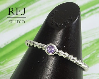 Natural Amethyst Twist Silver Ring, 2mm Round Cut Purple February Birthstone Braided Ring Sterling Stack Genuine Amethyst Rope Ring Birthday