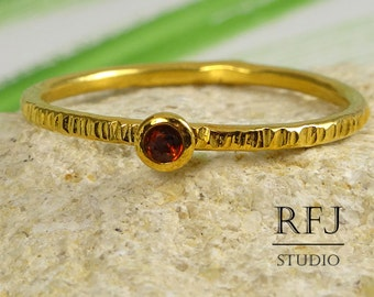 Natural Garnet Textured Gold Plated Ring,  2 mm Round Cut Red Genuine Garnet 24K Yellow Gold Plated Stackable Ring, January Birthstone Ring