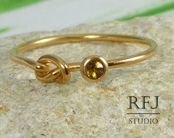 Natural Citrine Knotted 14K Rose Gold Plated Ring, November Birthstone Rose Gold Plated Promise Ring 2mm Round Cut Citrine Love Knot Ring