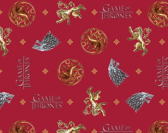 IN STOCK HBO Game of the thrones Fabric: Game of The Thrones symbols of houses -You Win Or You Die  100% cotton fabric (SC414)