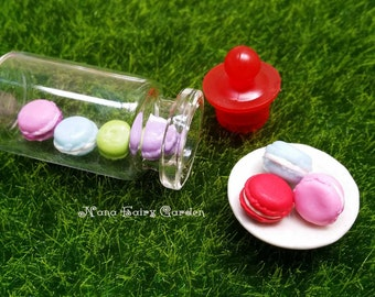 Colorful macaroons in Thick Bottle, Miniature food, Dollhouse, Fairy Garden