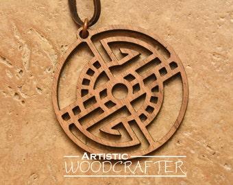 Wooden Geometric Necklace (Walnut)