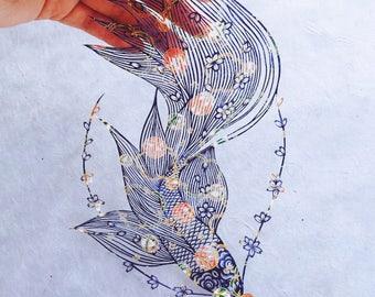 Original Papercut – Handcut – Papercutting – Paper Cutting Art – Paper Illustration – Paper Art – Gift for Her – Handmade - Koi fish