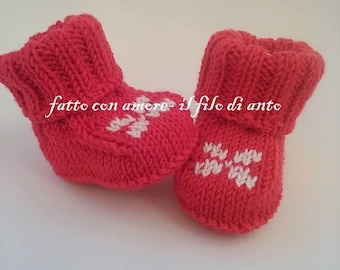Red Merino Wool booties booties with jacquard designs