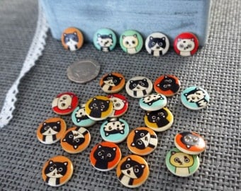 10 x  Cute Bright Coloured  Wooden Round Cat Design Buttons