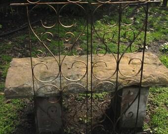 Vintage Iron Scroll Work, Antique Decorative Window Scroll, Industrial Ironwork Wall Decor, Garden Decor.