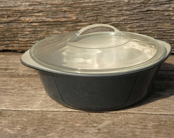Glasbake casserole dish, grey casserole dish, made in the USA, Glassbake charcoal, 2 qt casserole dish,J-514