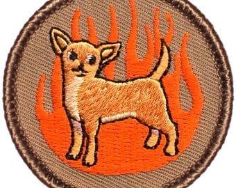 Flaming Chihuahua Patch (353) 2 Inch Diameter Embroidered Patch