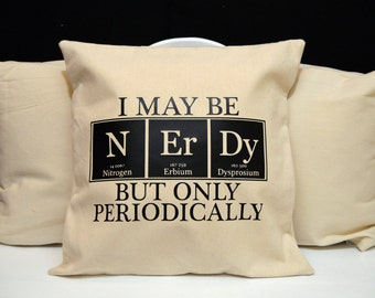 Chemistry Pillow, Science Pillow, novelty throw pillow, pillow gift, nerd gift, nerd pillow, modern home decor, 20x20, Nerdy Pillow, Science