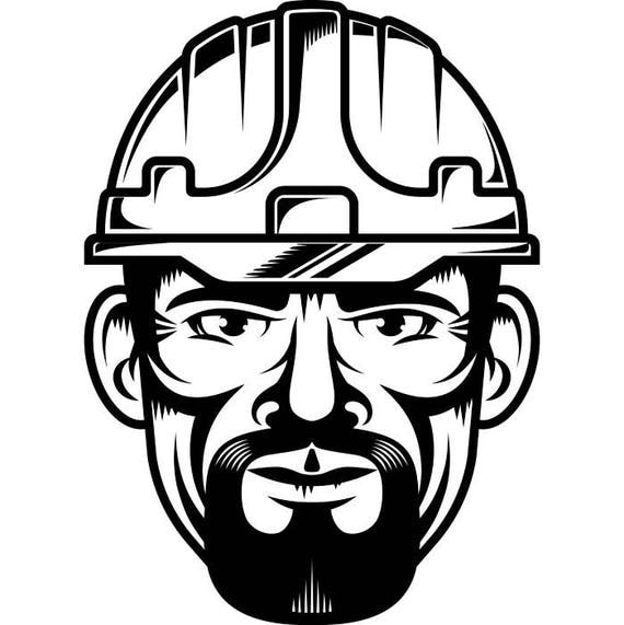 Construction Worker 1 Man Hard Hat Helmet Handyman Electrician Builder Mining Equipment Work Logo SVG EPS PNG Vector Cut Cutting From