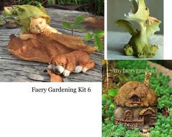 Miniature Dollhouse FAIRY GARDEN ~ Sleeping Fairy Baby With Puppy starter kit ~ NEW
