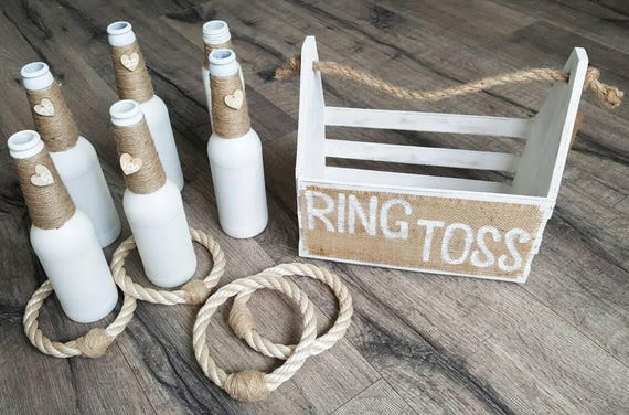 Ring Toss - White Bottles | Ring Toss Game | Wedding Game | Garden Game | Skittles Set | Vintage Game