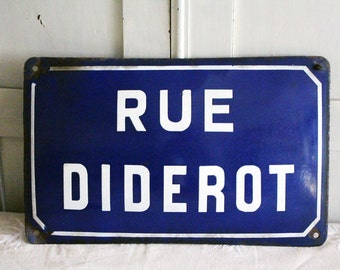 """Vintage French Enamel Road Sign - """"Rue Diderot"""""""