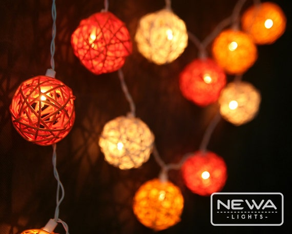 Rustic Indoor String Lights : 20 Orange White Rattan Ball Fairy Lights Indoor String Lights