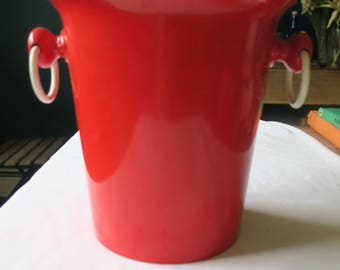 Vintage red French bucket pail white handles