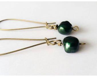 Sale~Vintage Inspired Antique Bronze/Bottle Green Freshwater Pearl Earrings