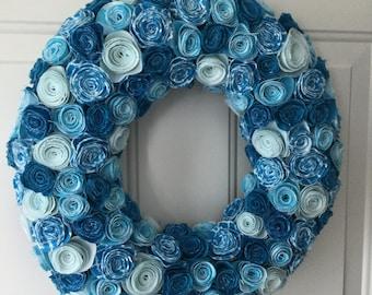 Fabric Wreath, Fabric Flower Wreath, Fabric Door Decor, Flower Wreath, Year Round Wreath, Turquoise Wreath, Door Wreath, Indoor Wreath