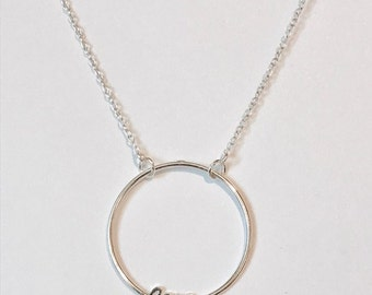 sterling silver swinging Love circle necklace/handmade