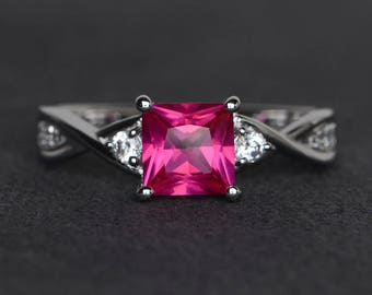 princess cut ruby ring sterling silver wedding engagement ring July birthstone ring red gemstone ring