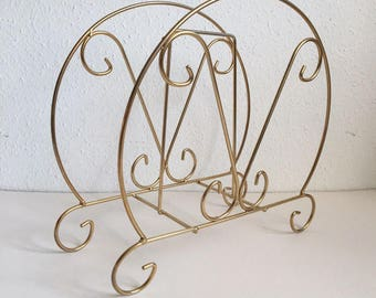 Vintage 60's Gold Metal Magazine Rack