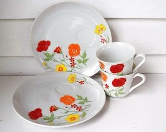Vintage Snack Set Red Yellow Flowered Mod China Mug Plate Snack Set 1970s