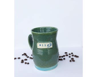 Large mug, Wild mug, handmade mug, coffee cup, green mug, ceramic mug, pottery mug, unique mug, pottery, ceramics
