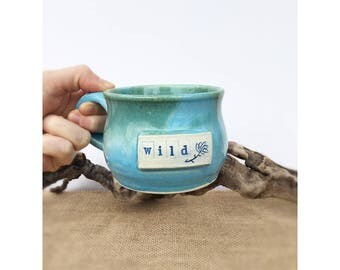 Wild Mug, mug, pottery mug, coffee mug, coffee cup, handmade mug, handmade cup, blue and green