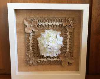 Country/Shabby Chic hydrangea, lace and burlap flower framed displayGift Idea