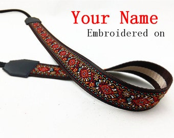 045 Custom  Camera Strap  Personalized Camera Strap etnic Embroidered DSLR Sony, Nikon, Canon Accessorie Photography Gift Birthday Gift Boho