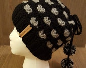 Crochet Messy Bun Hat (in Oakland Raiders colors) *Reserved Listing*