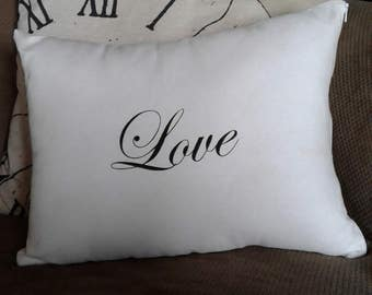 12 x 16 (Love) screen printed pillow cover