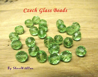 Beads Green Glass Beads 50 pcs Light Green Czech Fire Polish Faceted Round 10mm Unique Wholesale Green Beads Spring Green Peridot Beading