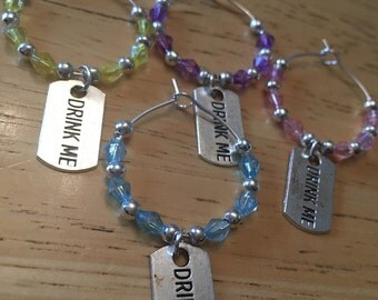 Wine Glass Charms - Drink Me, Alice in Wonderland