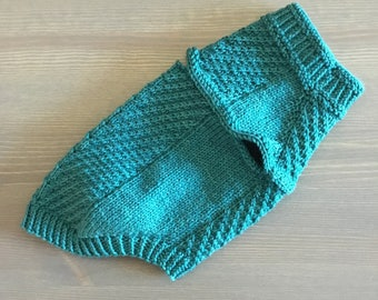 Hand Knit Miniature Dachshund Light Teal Cabled Harness-Friendly Dog Sweater