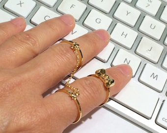 Bow Ring, Gold Ring, Stack Ring, Thin Ring, Knuckle Ring