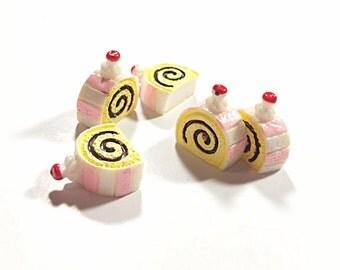 Kawaii 3d cake rolls cabochons - sweets flatback - food cab