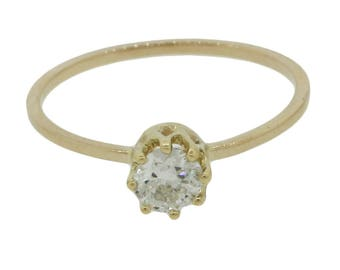 Antique Art Deco 14k Yellow Gold Old Mine Cut 0.35ct Diamond Solitaire Engagement Ring