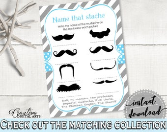 Name That Stache, Baby Shower Name That Stache, Mustache Baby Shower Name That Stache, Baby Shower Mustache Name That Stache Blue 9P2QW
